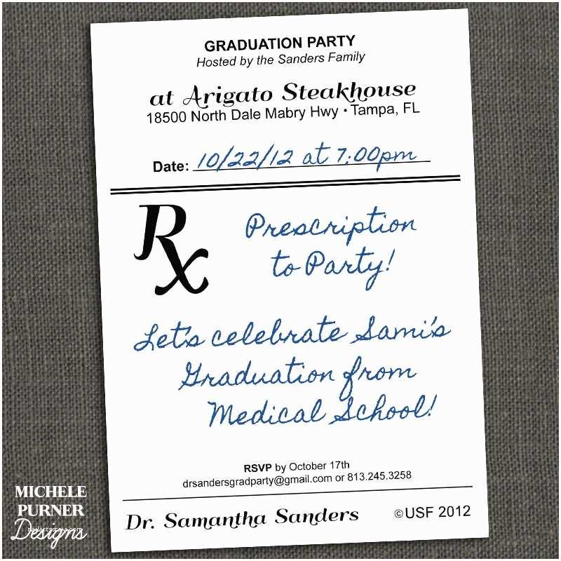 Medical School Or Nursing Graduation Prescription Invitation Modern And Fun Made Into A Clever