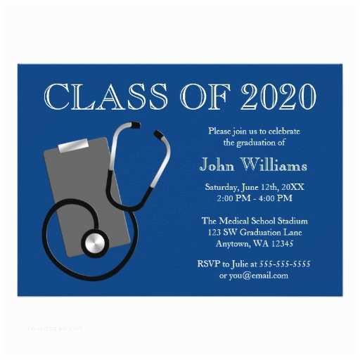 """Medical School Graduation Invitations Medical Nursing School Blue Graduation 5"""" X 7"""" Invitation"""