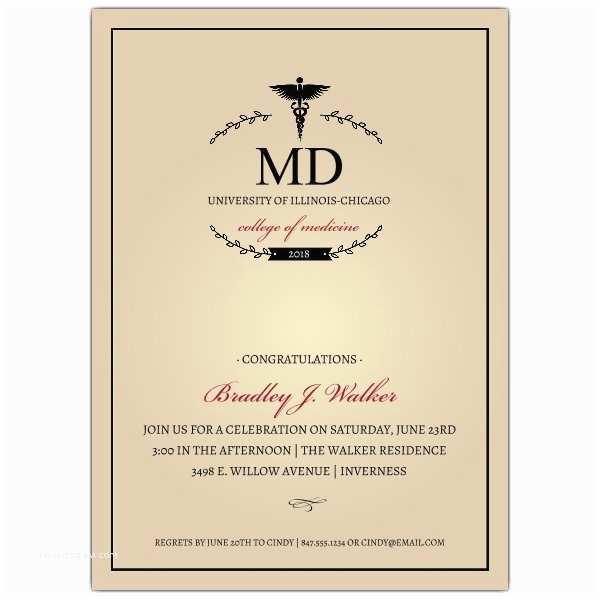 Medical School Graduation Invitations Monogram Medical Degree Graduation Invitations