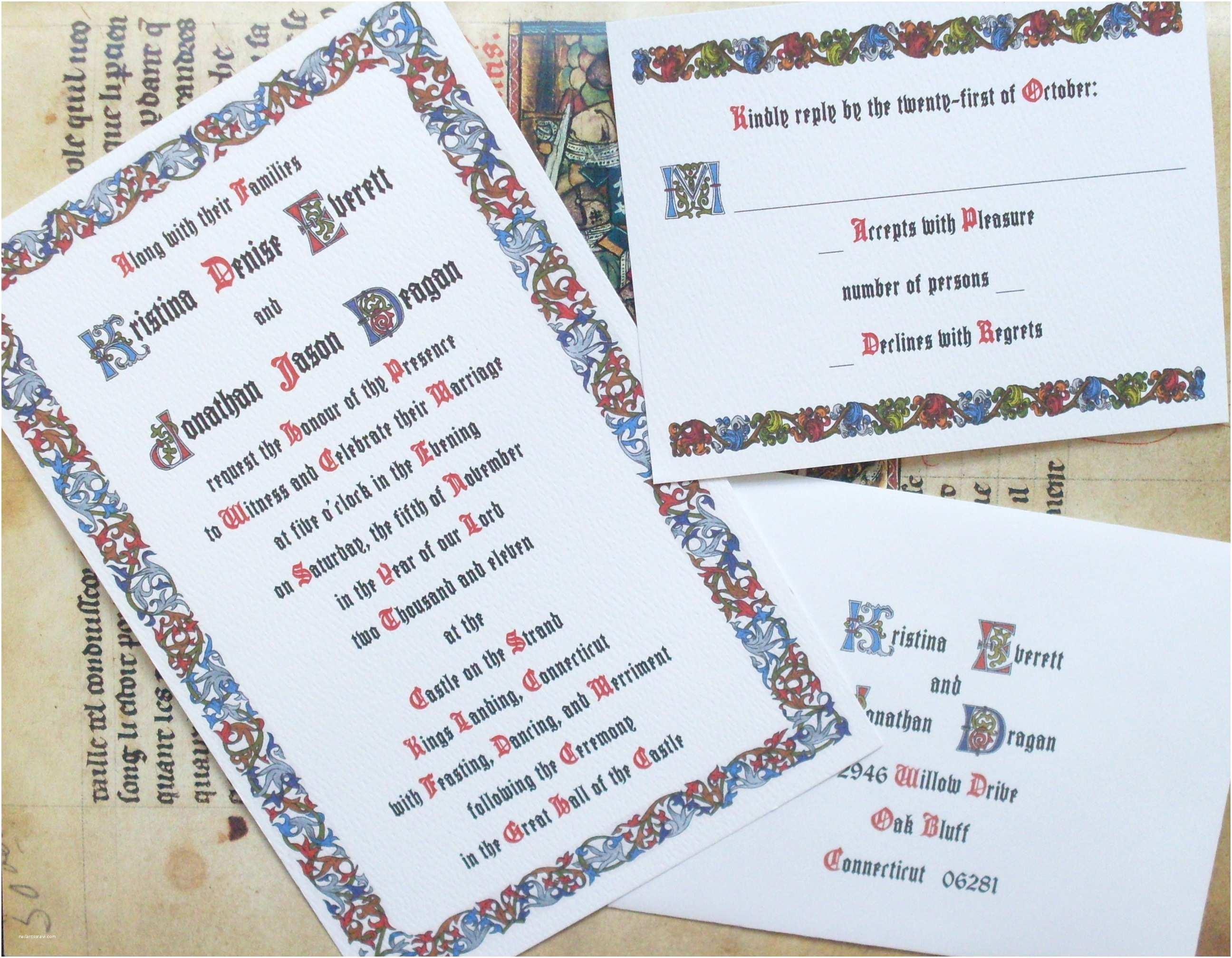 Medieval Wedding Invitations Custom Wedding Invitations for theme Weddings Renaissance