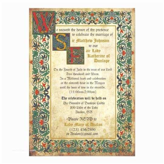 Medieval Wedding Invitations Me Val Manuscript Wedding Invitation Card