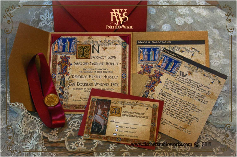 Medieval Wedding Invitations Me Val Style Illuminated Manuscript Wedding Invitation for