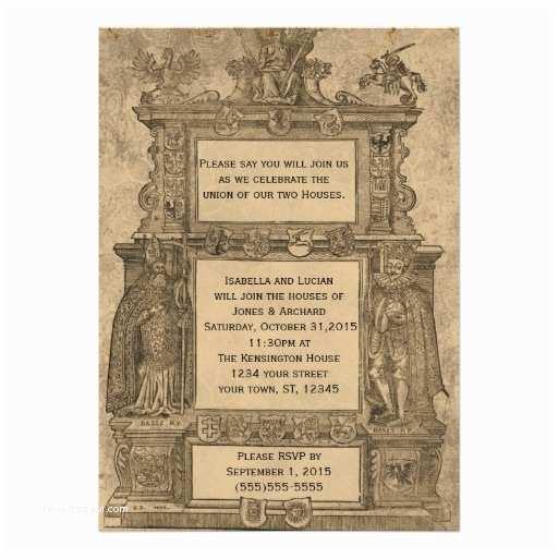 Medieval Wedding Invitations Vintage Me Val Woodcut Gothic Wedding Invites