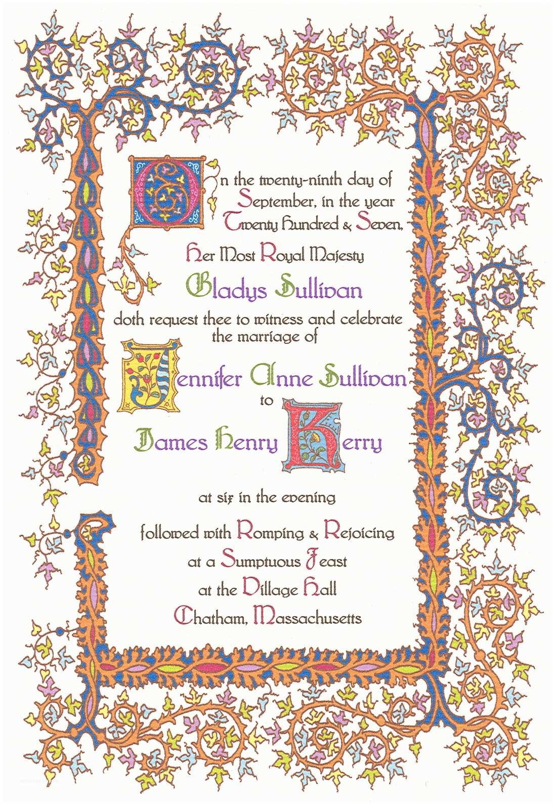 Medieval Wedding Invitations Wording 15th Century Renaissance Invitation