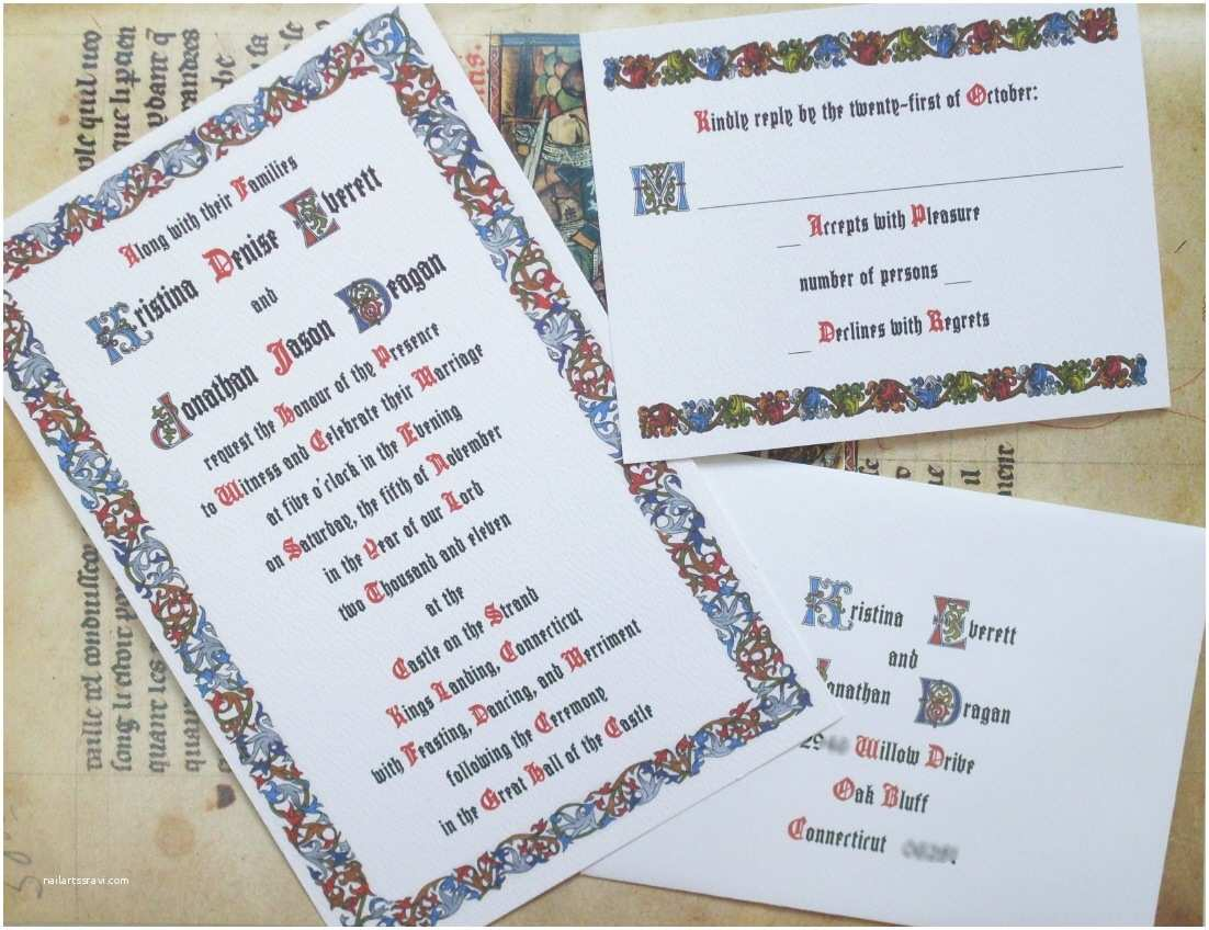 Medieval Wedding Invitations Wording Custom Wedding Invitations for theme Weddings Renaissance