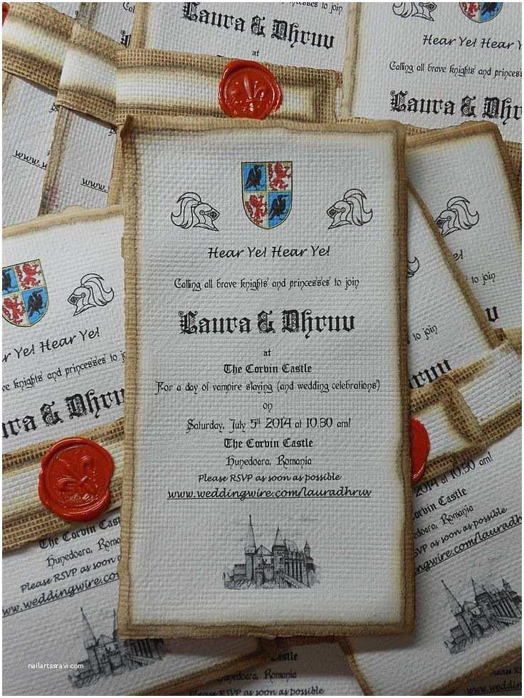 Medieval Wedding Invitations Wording Me Val Handmade Wedding Invitation
