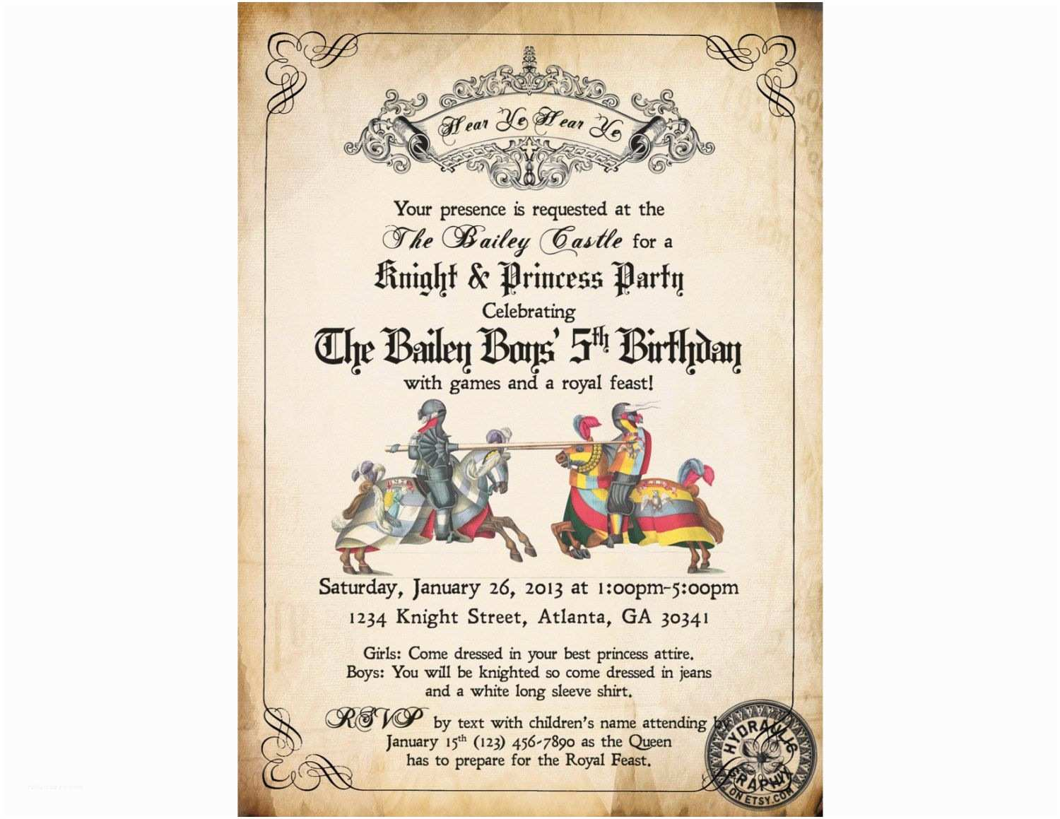 Medieval Wedding Invitations Wording Me Val Times or Renaissance Birthday Party Invitation