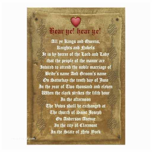 "Medieval Wedding Invitations Wording Me Val Wedding Invitation Decree Template 5"" X 7"