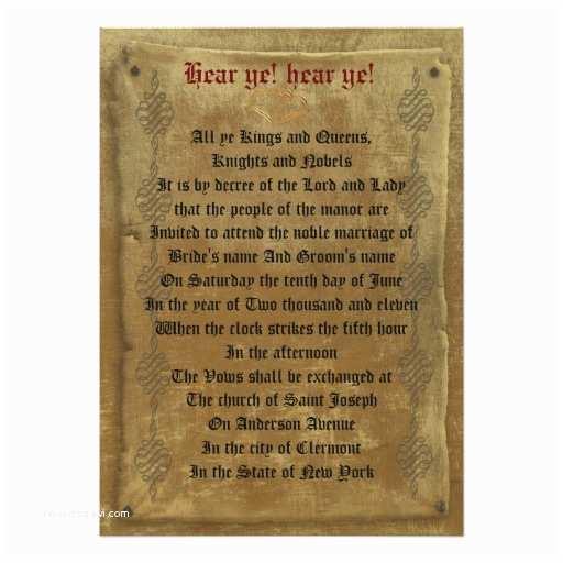 Medieval Wedding Invitations Wording Me Val Wedding Invitation Decree Template