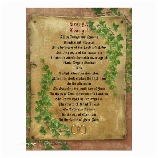 "Medieval Wedding Invitations Wording Me Val Wedding Invitation Large format 6 5"" X 8 75"