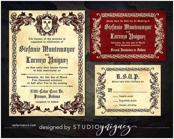 Medieval Wedding Invitations Wording Me Val Wedding Printable Invitation Suite Renaissance