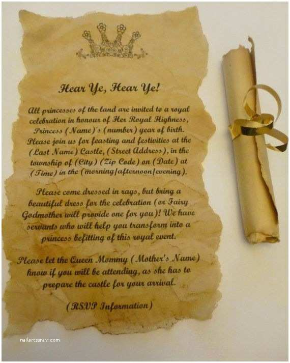 Medieval Wedding Invitations Wording Scroll Invitations for Birthday Party Baby or Wedding