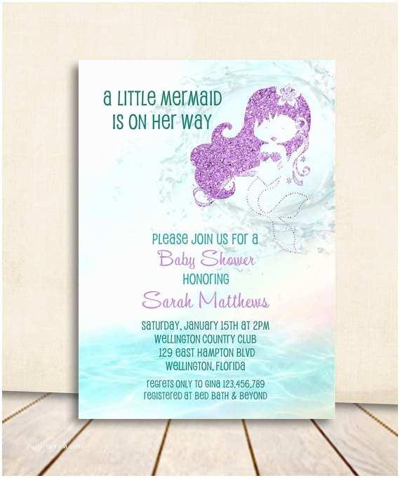 Mermaid Baby Shower Invitations Mermaid Baby Shower Invitation Turquoise and Purple Glitter