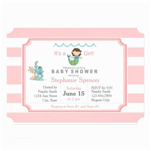 Mermaid Baby Shower Invitations Mermaid Pink Girl Baby Shower Invitation