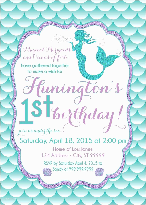 Mermaid Birthday Invitations Mermaid Birthday Invitation Mermaid Party Invite Under the