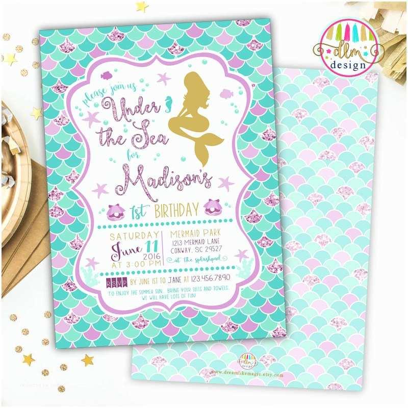 Mermaid Birthday Invitations Mermaid Birthday Party Invitation Printable Invite Girl