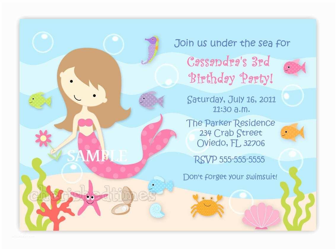 Mermaid Birthday Party Invitations The Little Invitation