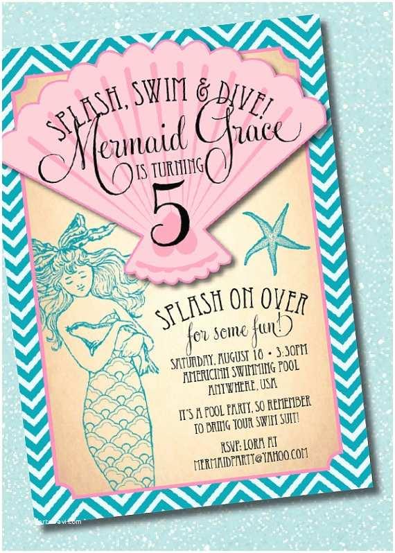 Mermaid Birthday Party Invitations Diy Printable Vintage Mermaid Birthday Party Invitation by