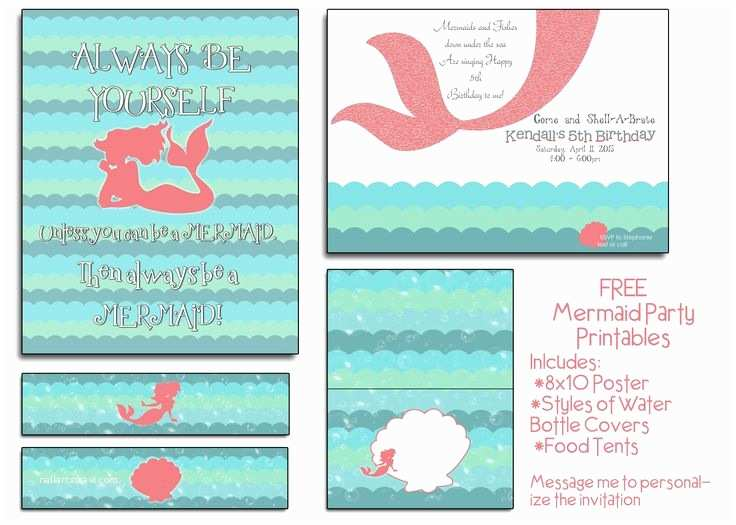 Mermaid Birthday Party Invitations Free Mermaid Party Printables I Will even Customize the