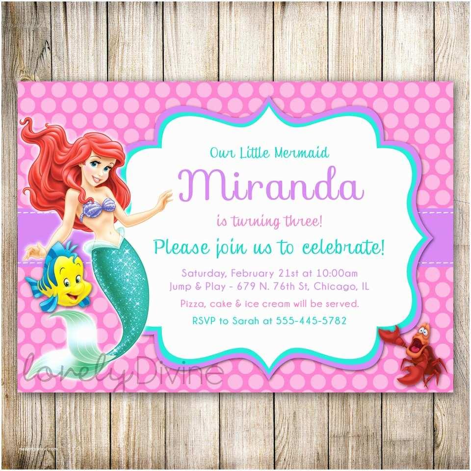 Mermaid Birthday Party Invitations Little Invitation Ariel