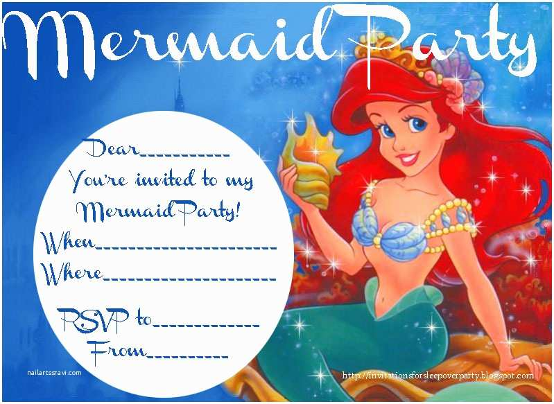 Mermaid Birthday Party Invitations Little Invitation Free Printable Orderecigsjuice