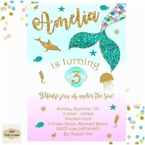 Mermaid Birthday Party Invitations Mermaid Invitation Mermaid Birthday Invitation Mermaid