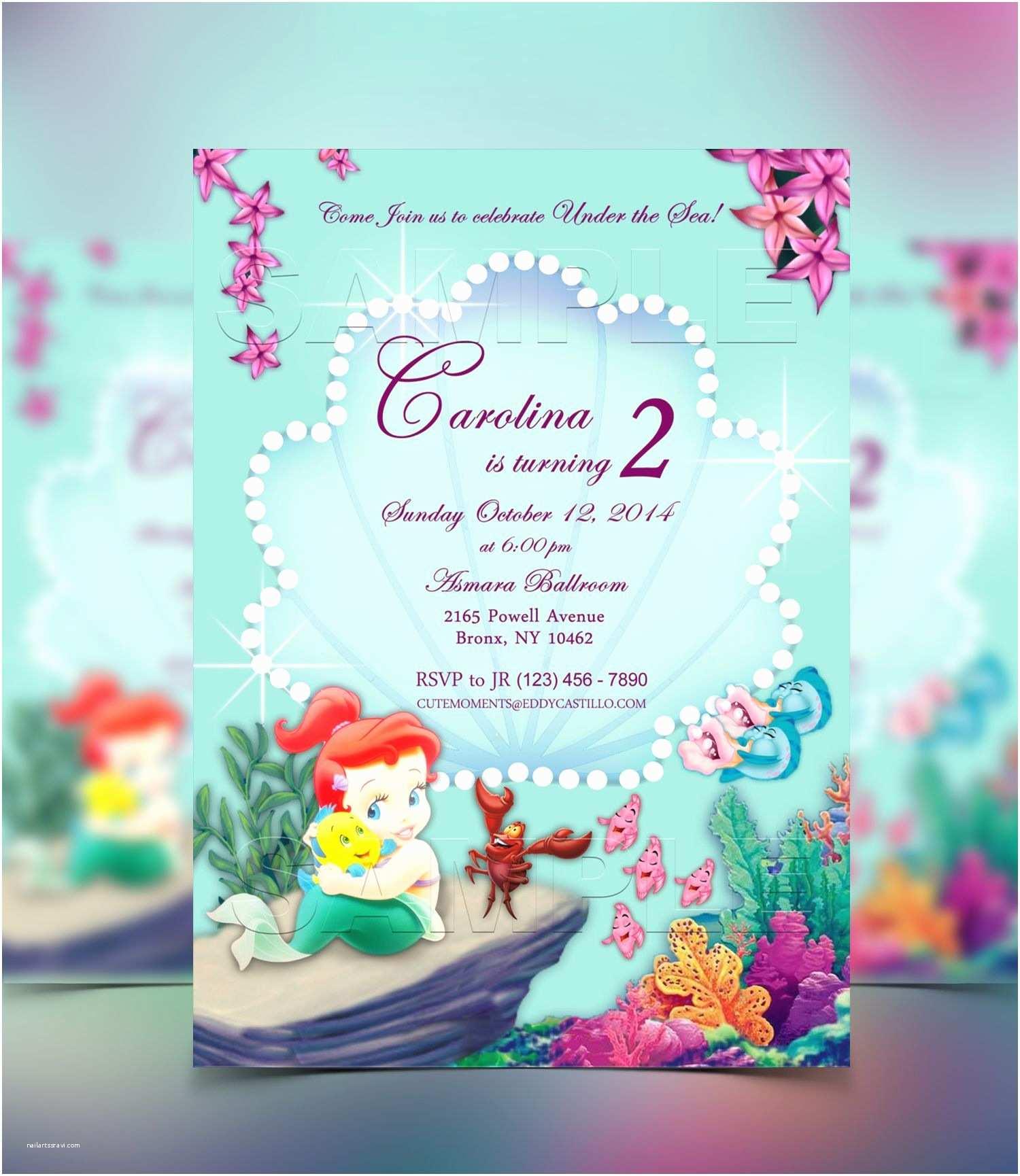 Mermaid Birthday Party Invitations the Little Mermaid Invitation Birthday