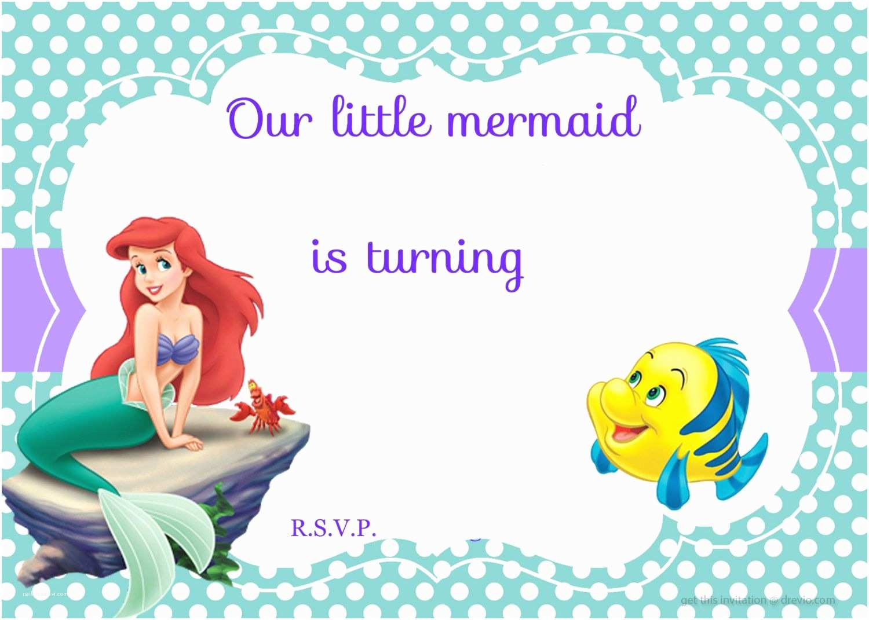 Mermaid Party Invitations Download Free Printable Ariel the Little Mermaid