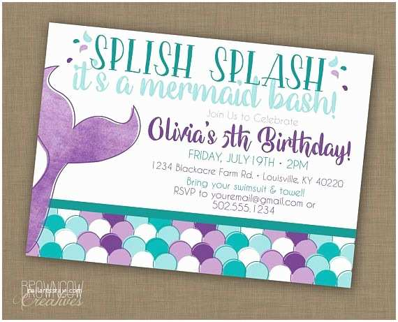 Mermaid Party Invitations Mermaid Birthday Party Invitation Printable Under