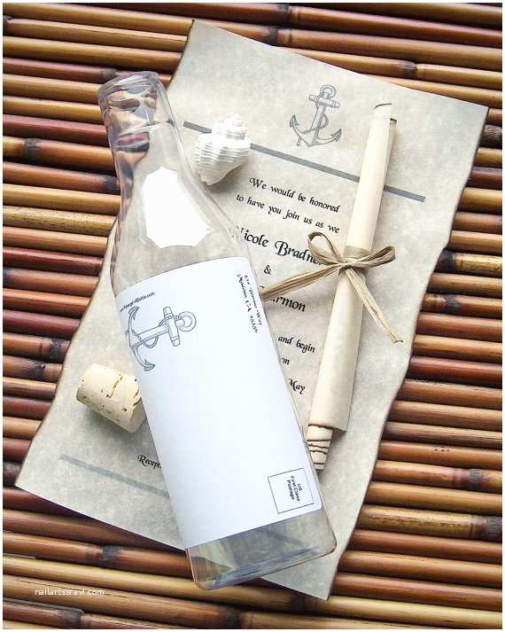 Message In A Bottle Wedding Invitations Message In A Bottle Destination Wedding by