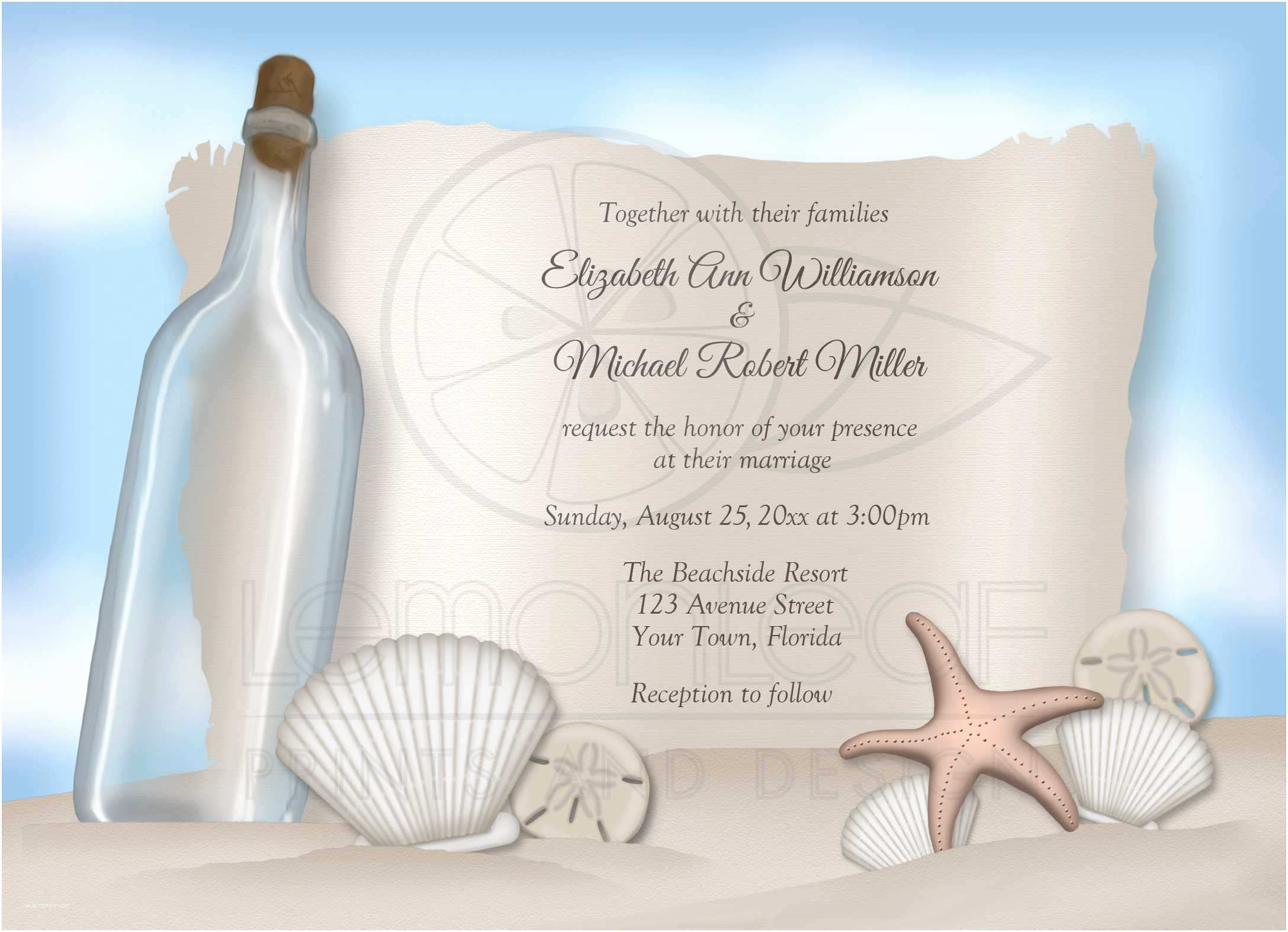 Message In A Bottle Wedding Invitations Message In A Bottle Wedding Invitations – Gangcraft