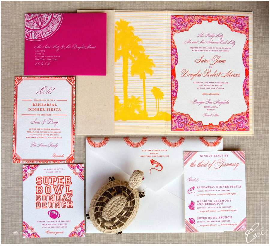 Mexican Inspired Wedding Invitations V Our Muse Festive Wedding In Mexico Sara and Douglas P