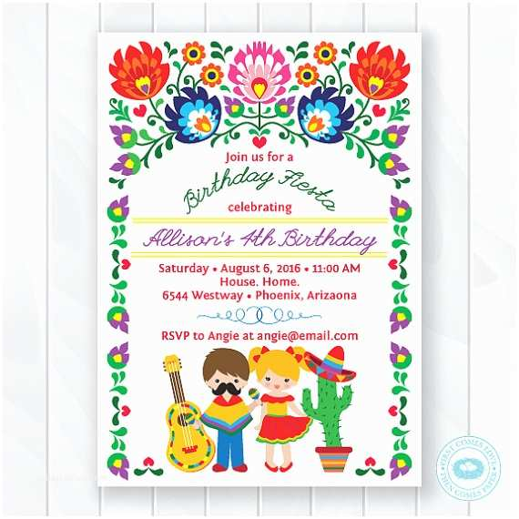 Mexican Party Invitations Kids Fiesta Birthday Invitation Children S Mexican Fiesta