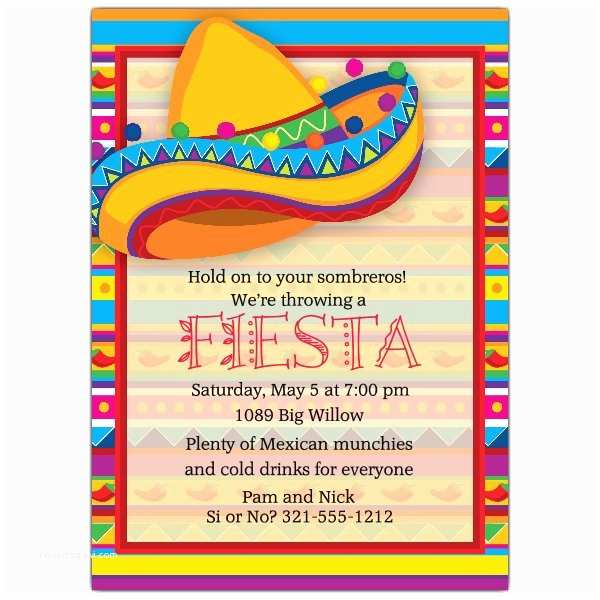 Mexican themed Party Invitations Big sombrero Fiesta Invitations