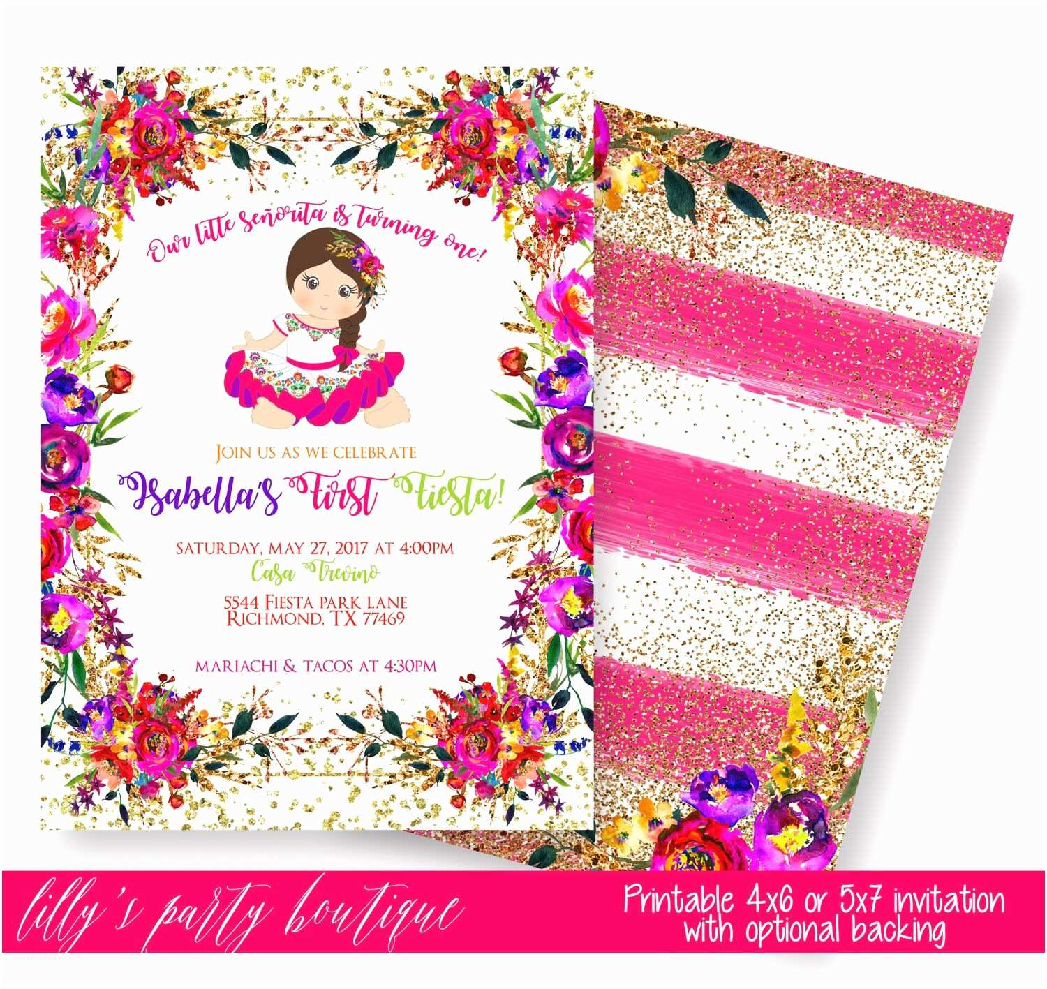 Mexican themed Party Invitations Fiesta Birthday Invitation Mexican Fiesta Invitation