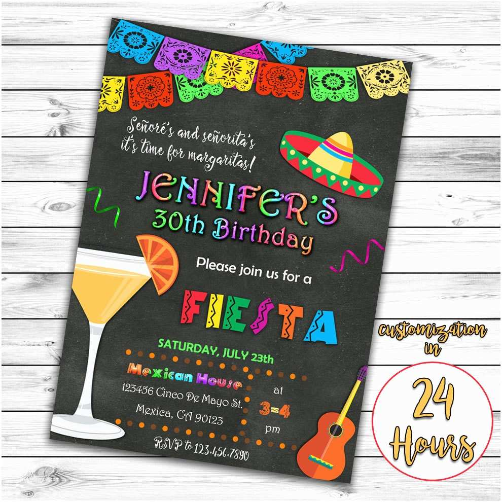 Mexican themed Party Invitations Fiesta Birthday Invitation Mexican Invitation Mexican