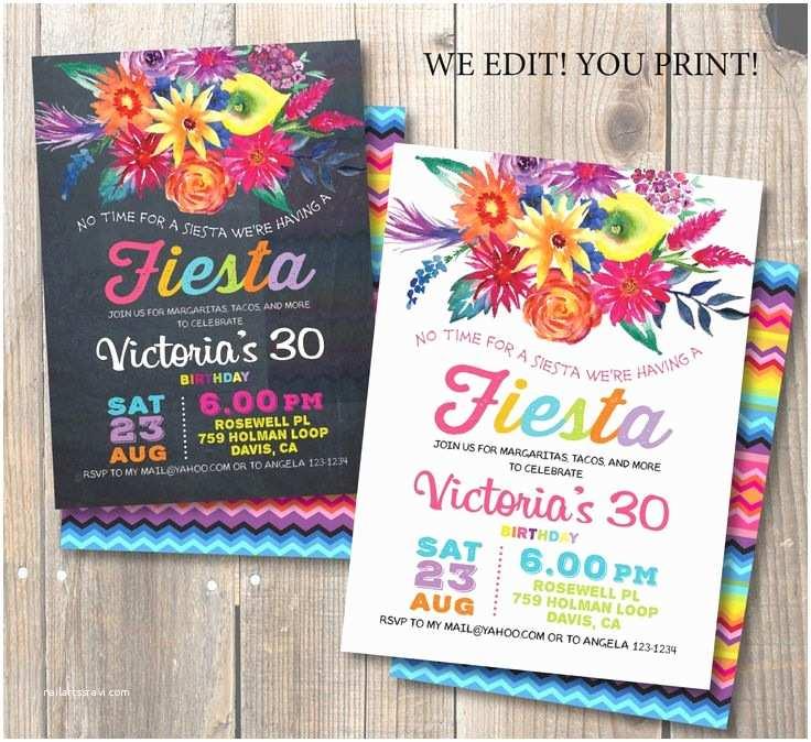 Mexican Themed  Invitations Fiesta Birthday  Invitation Mexican