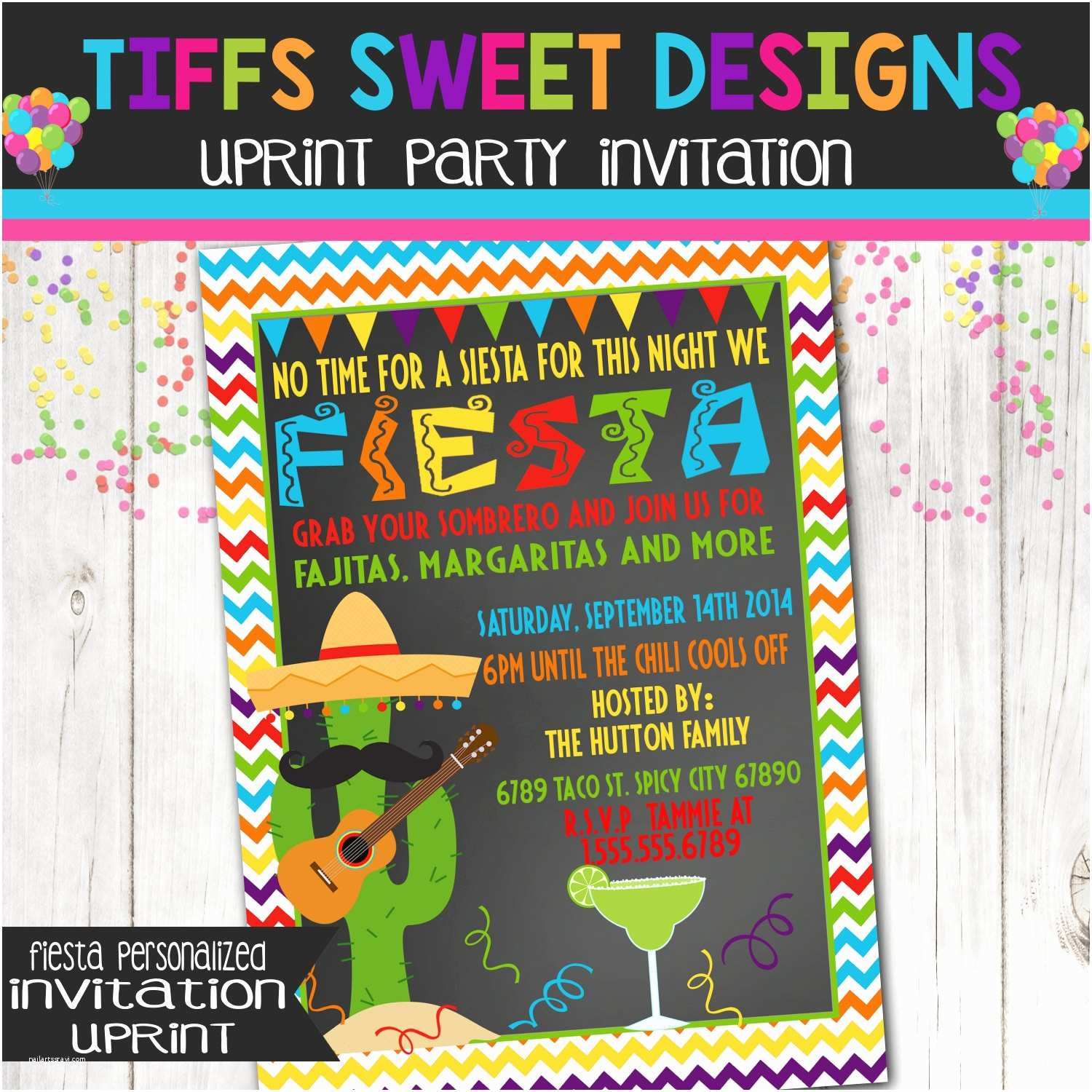 Mexican themed Party Invitations Fiesta Invitation Mexican Party Invitation Custom