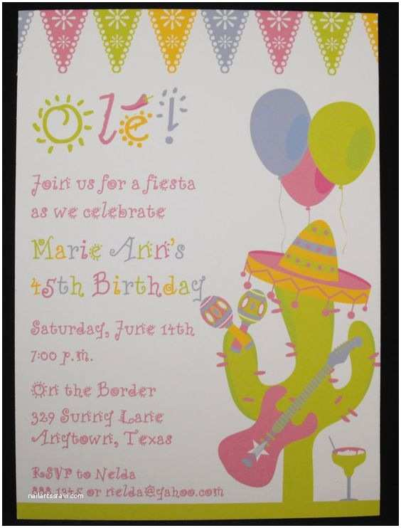Mexican themed Party Invitations Girly Fiesta Mexican themed Party Invitations