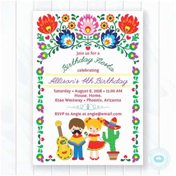 Mexican Themed Party Invitations Kids  Birthday Invitation Children S Mexican