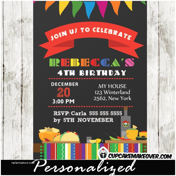 Mexican themed Party Invitations Mexican Fiesta Birthday Party Invitation Personalized