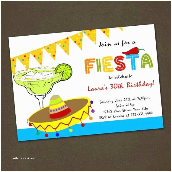 Mexican themed Party Invitations Mexican Fiesta Birthday Party Invitations You Print