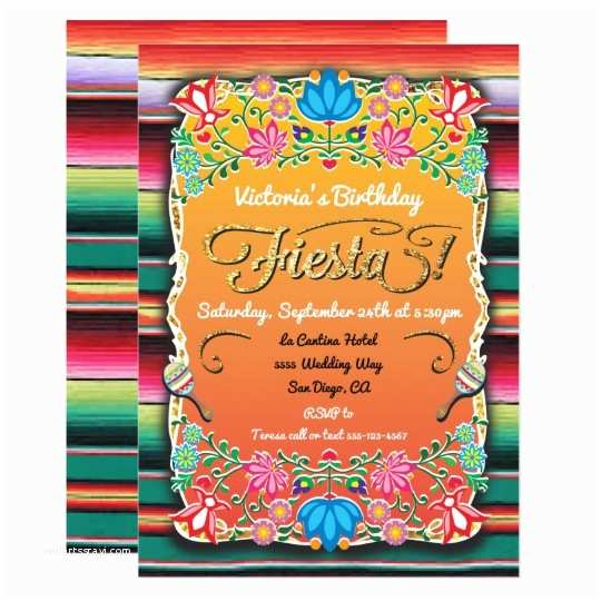 Mexican themed Party Invitations Mexican Fiesta Party Gold Glitter Card