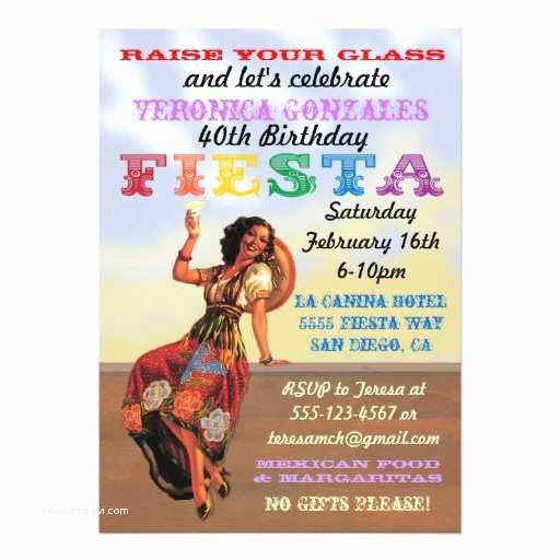 """Mexican Themed Party Invitations Mexican Fiesta Pin Up Birthday Party Invitations 5"""" X"""