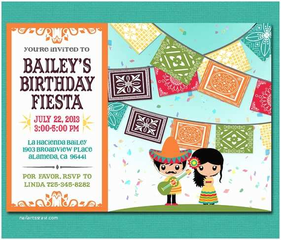 Mexican Themed Party Invitations Print Yourself Kid S Mexican Fiesta Invitation