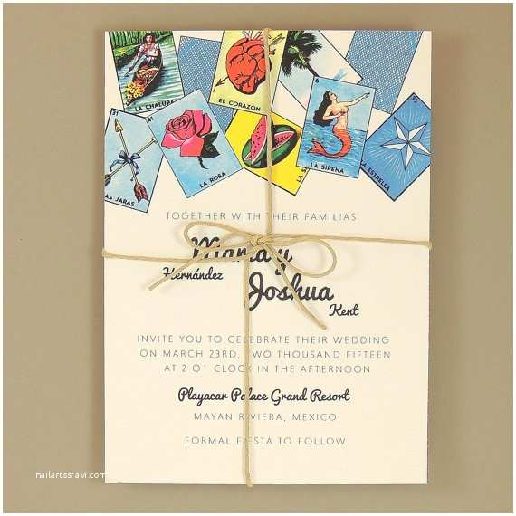 Mexican themed Wedding Invitations Maria Suite Mexican Loteria Wedding Invitation by Jpstationery