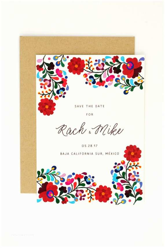 Mexican Wedding Invitations Floral Destination Wedding Save the Dates Colorful Mexican