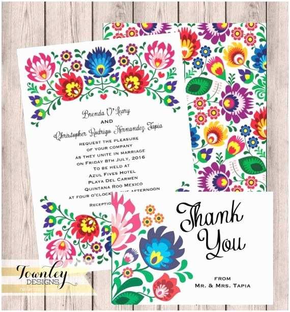 Mexican Wedding Invitations Floral Folk Fiesta Wedding Invitation Fiesta Wedding