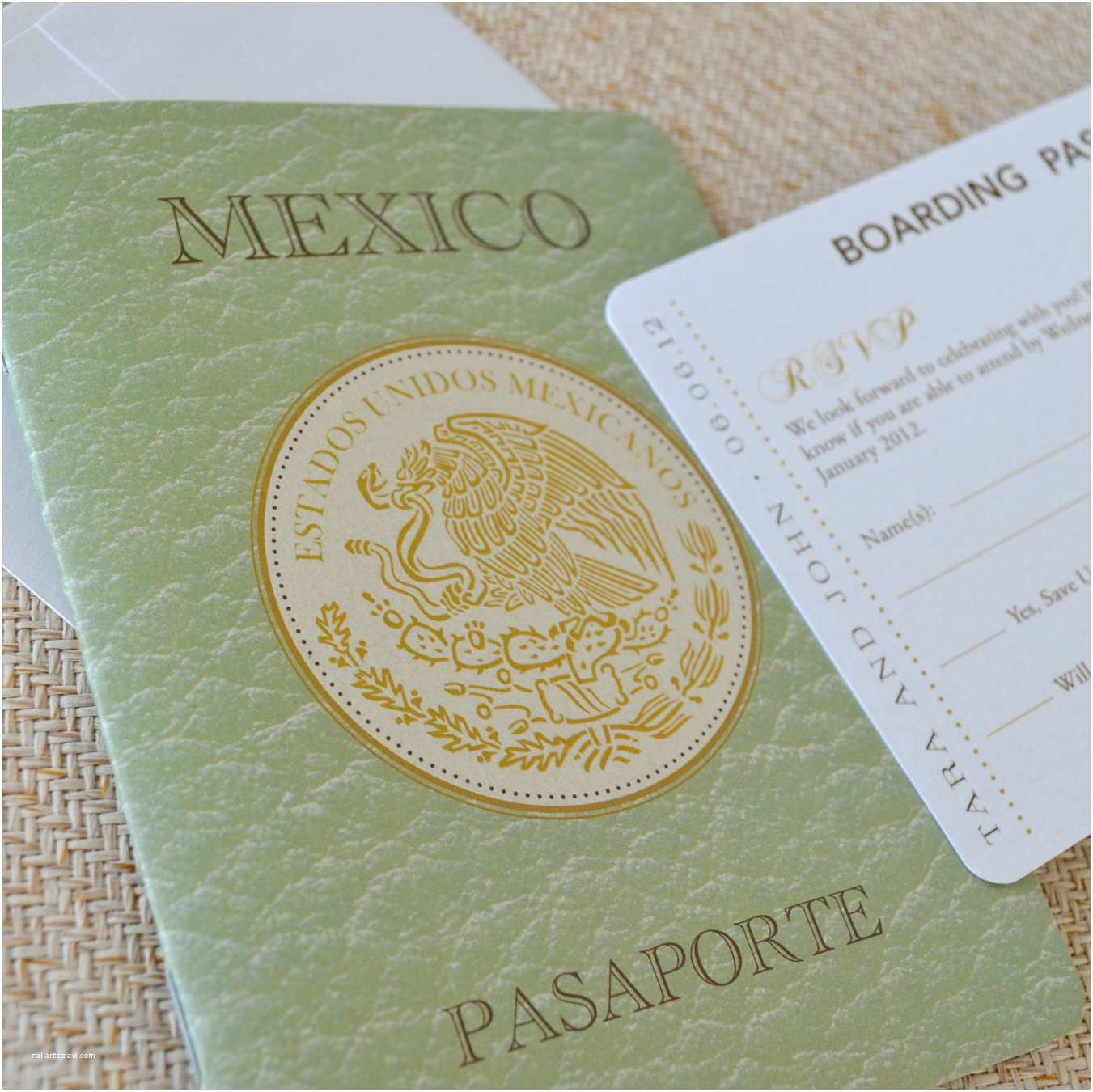 mexican crest passport wedding
