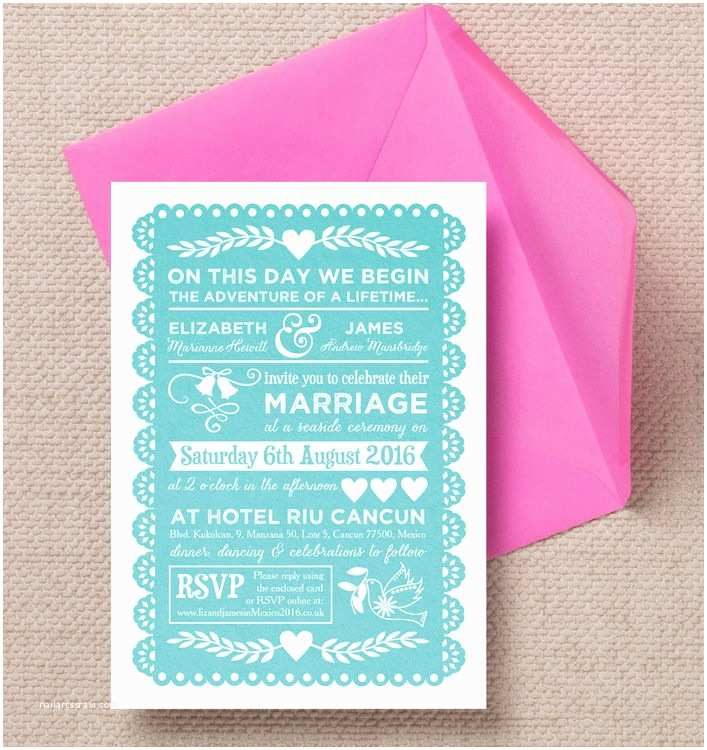 Mexican Wedding Invitations Mexican Inspired Papel Picado Wedding Invitation From £1